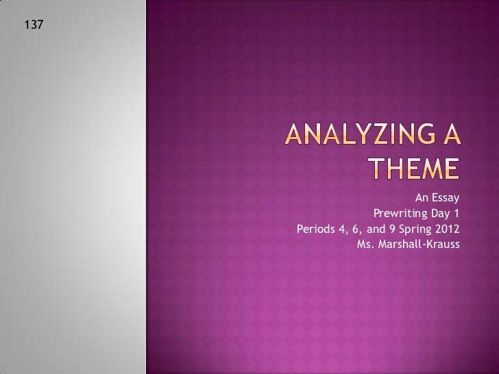 Theme essay prewriting day 1 2012