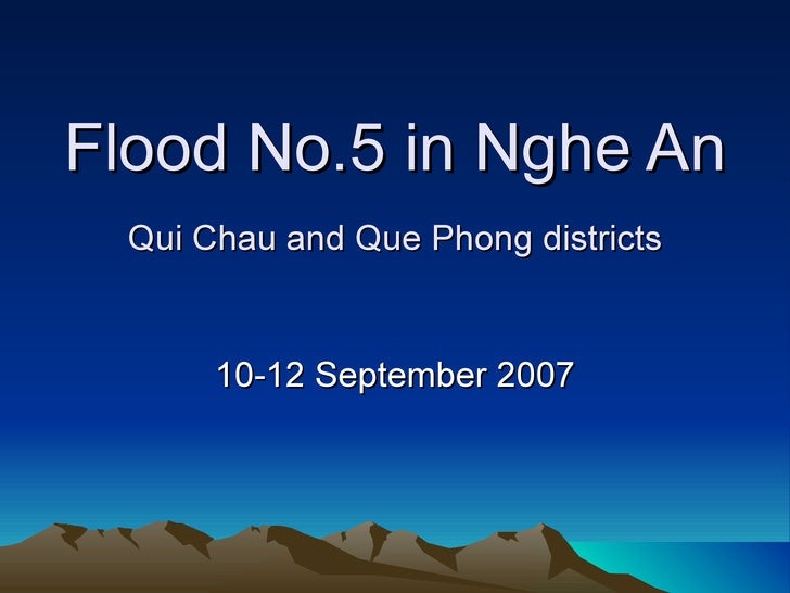 Flood No.5 in Nghe An Qui Chau and Que Phong districts 10-12 September 2007