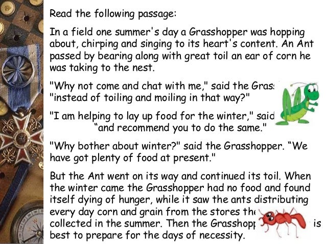 The ant and the grasshopper plot summary