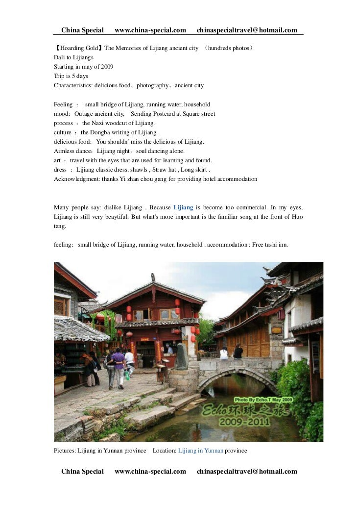 China Special         www.china-special.com           chinaspecialtravel@hotmail.com【Hoarding Gold】The Memories of Lijiang...