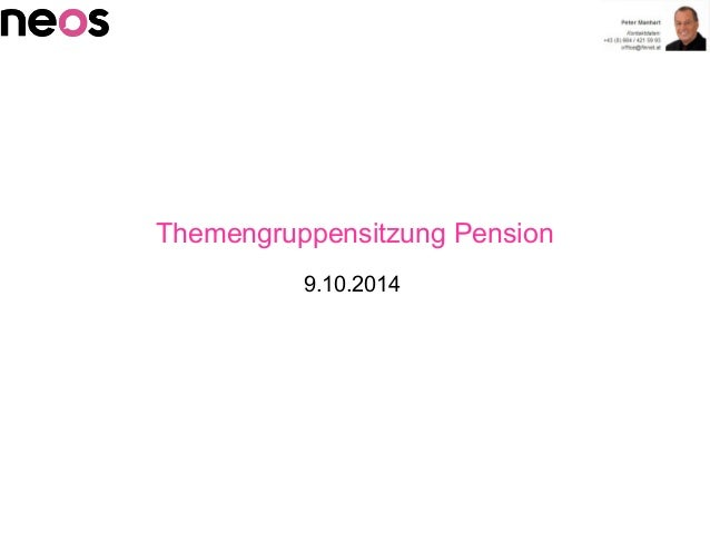 Themengruppensitzung Pension 9.10.2014