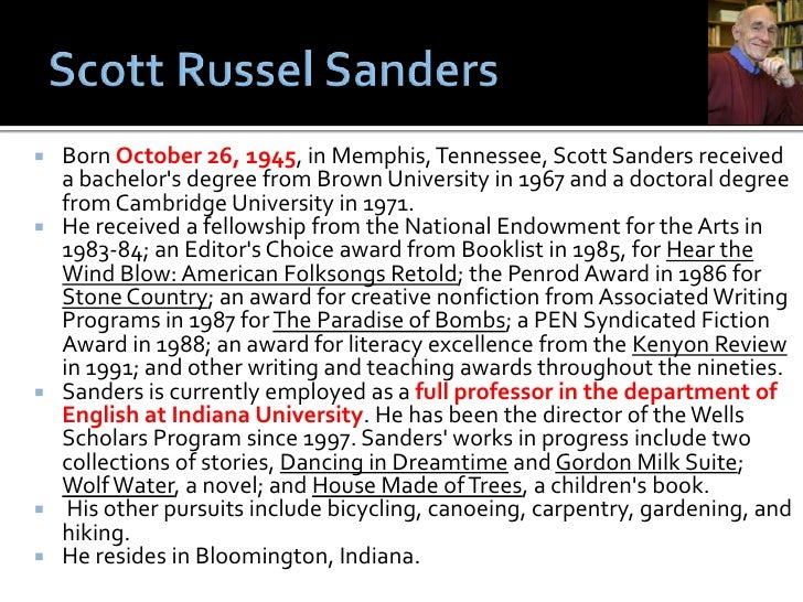 "Rhetoric Analysis of ""The Men We Carry In Our Minds"" by Scott Russel Sanders essay"