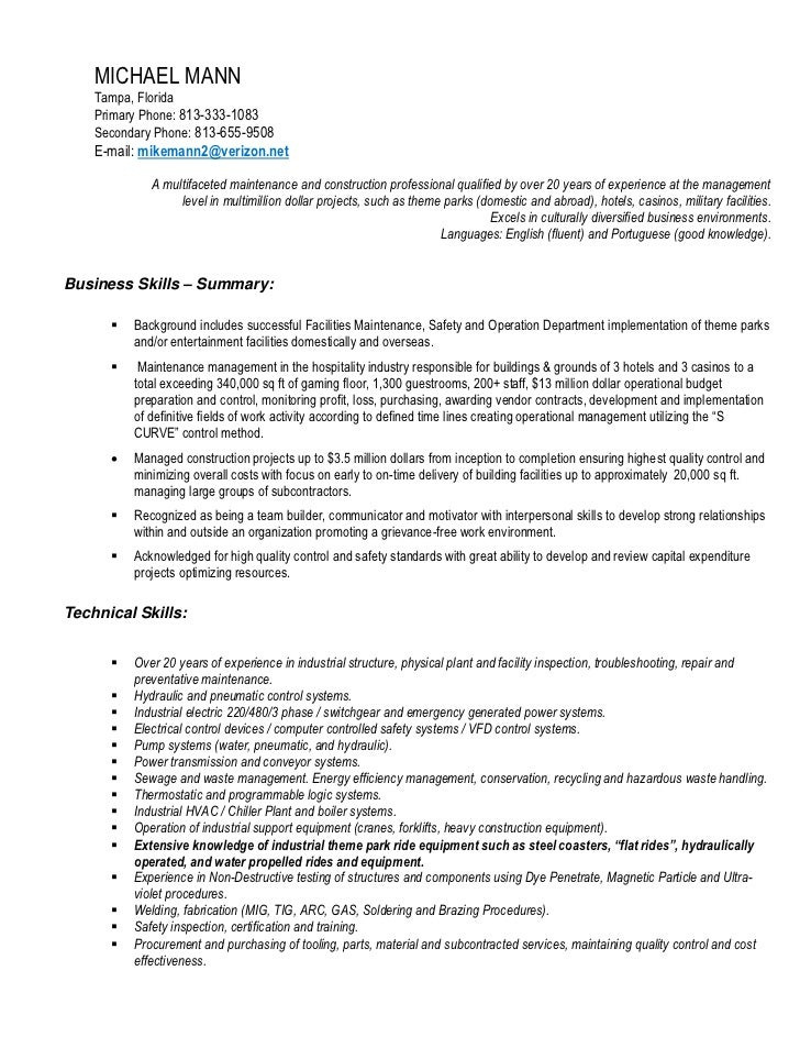 Facility Maintenance Mechanic Resume Sample With Electrical Repair ...