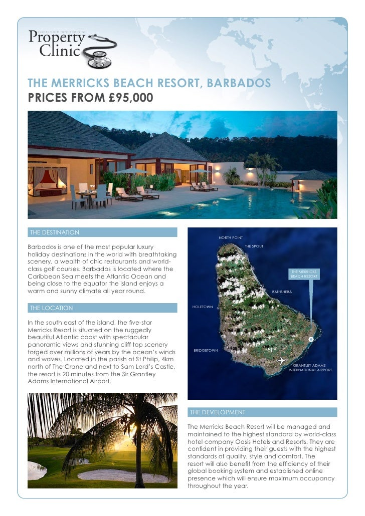 The Merricks Beach resorT, BarBados Prices froM £95,000     The DesTinaTion                                               ...