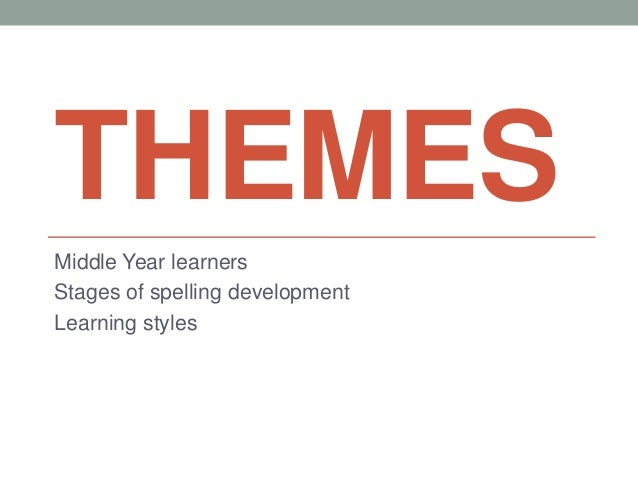 THEMES Middle Year learners Stages of spelling development Learning styles