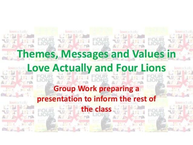 Themes, Messages and Values in Love Actually and Four Lions Group Work preparing a presentation to inform the rest of the ...