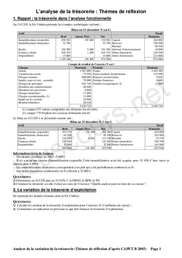 L'analyse de la trésorerie : Thèmes de réflexion1. Rappel : la trésorerie dans l'analyse fonctionnelleAu 31/12/N, la SA Un...