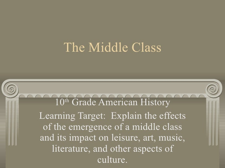 The Middle Class 10 th  Grade American History Learning Target:  Explain the effects of the emergence of a middle class an...