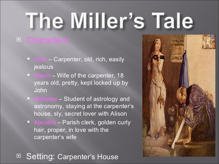 an analysis of characters nicholas and absalon in the millers tale by geoffrey chaucer The canterbury tales quiz 1 congratulations  which characters are in love with alison in the miller's tale - john absolon and nicholas 5  geoffrey-chaucer .
