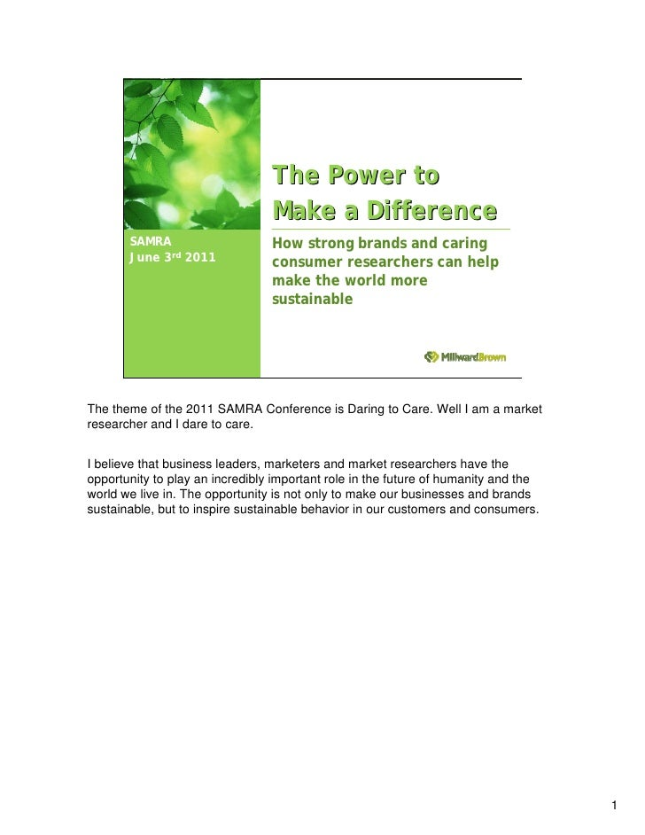 The Power to                                 Make a Difference       SAMRA                     How strong brands and carin...
