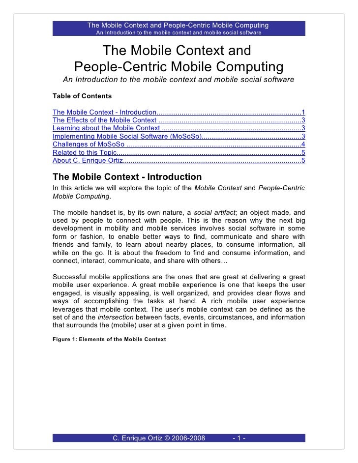 The Mobile Context and People-centric Mobile Computing