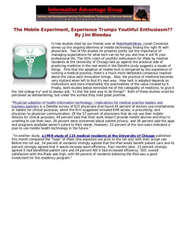 The Mobile Experiment, Experience Trumps Youthful Enthusiasm??By Jim BloedauIn two studies cited by our friends over at Mo...
