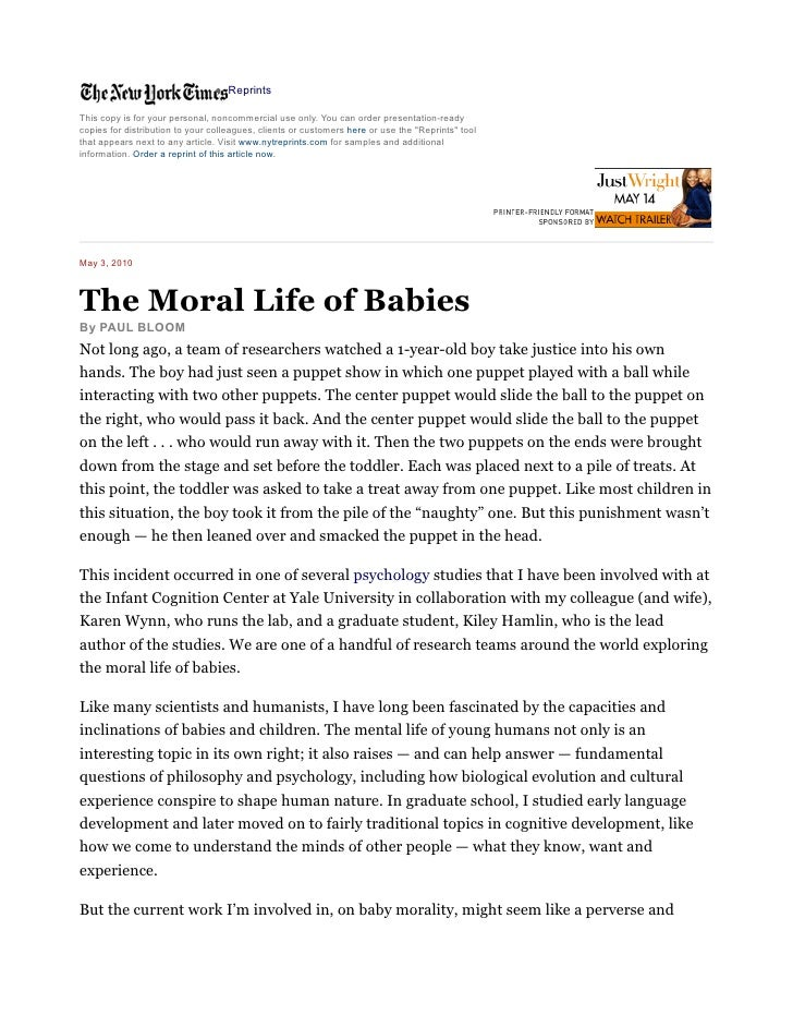 The moral life of babies   ny times