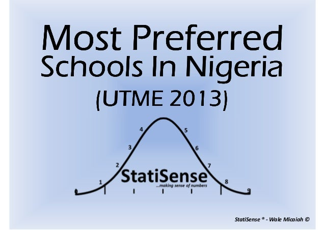 The most preferred schools UTME2013