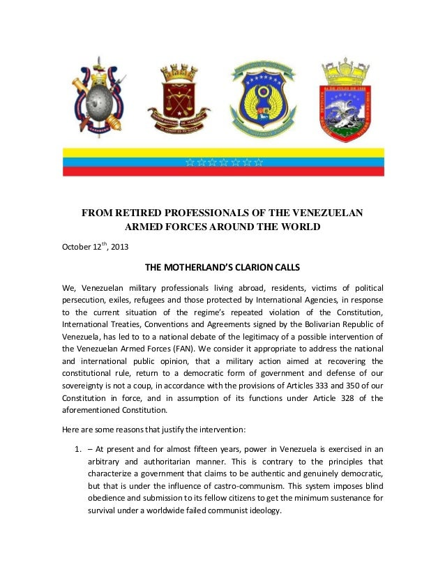 FROM RETIRED PROFESSIONALS OF THE VENEZUELAN ARMED FORCES AROUND THE WORLD October 12th, 2013  THE MOTHERLAND'S CLARION CA...