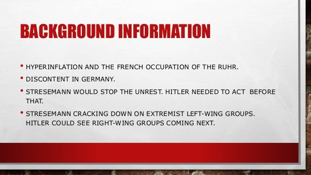 an analysis of police report of the munich putsch This meant that the national government in munich soon heard about hitler's putsch and from their refusal to prevent the munich police fired analysis of wind.