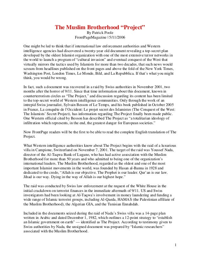 "The Muslim Brotherhood ""Project"" By Patrick Poole FrontPageMagazine 