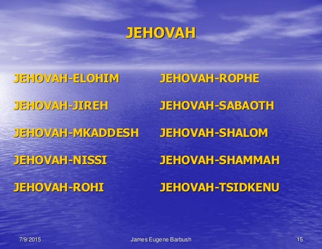 Bible the names of god for Jehovah nissi