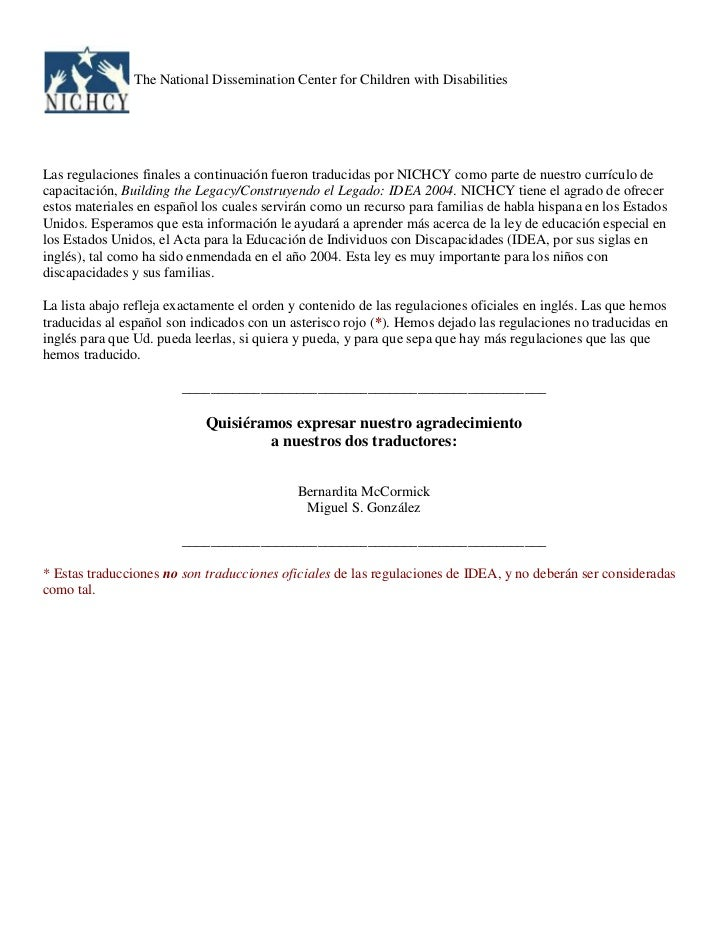 """HYPERLINK """"http://www.nichcy.org/Laws/IDEA/Pages/subapartadoE-espanol.aspx"""" Turn off more accessible mode<br />The Nation..."""