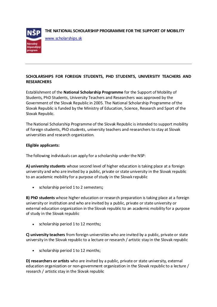 THE NATIONAL SCHOLARSHIP PROGRAMME FOR THE SUPPORT OF MOBILITY           www.scholarships.skSCHOLARSHIPS FOR FOREIGN STUDE...
