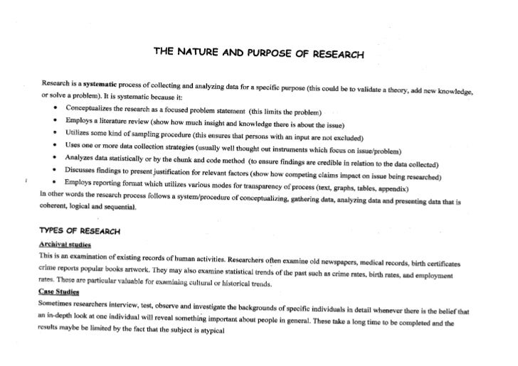 The nature and purpose of the research