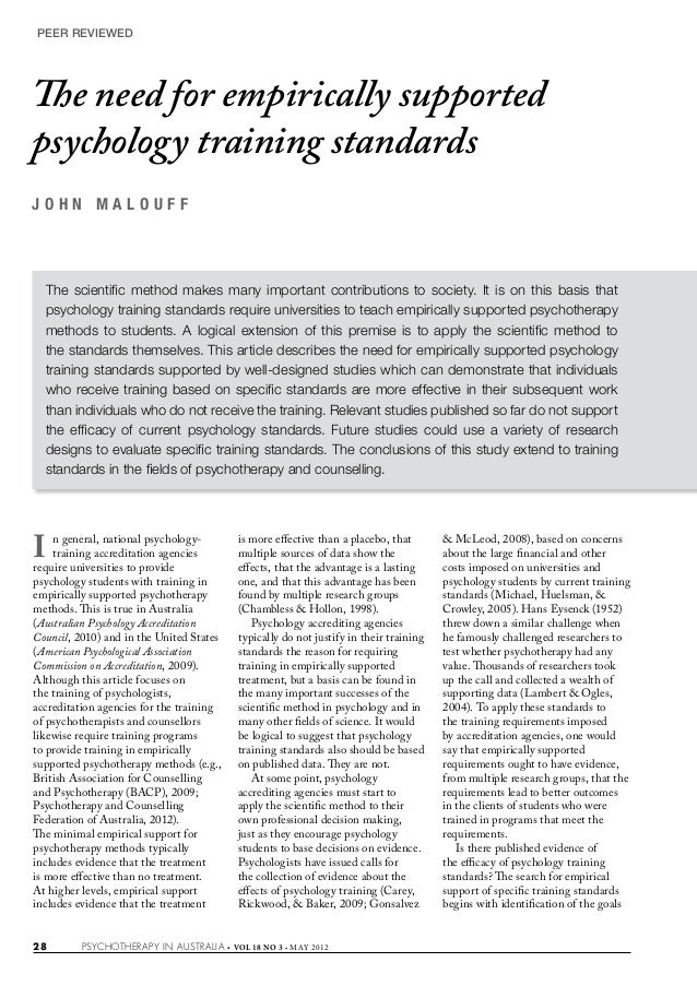 The need for empirically supported psychology training standards (psychotherapy in australia malouff 2012)