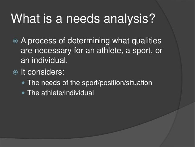 sports nutrition needs analysis The key issue for athletes is to develop easy to follow eating and drinking plans that will suit their own specific training requirements, meet requirements for all nutrients, take account of the individual needs of sports such as weight gain or loss, suit lifestyle and promote good health for most athletes the key to success with.