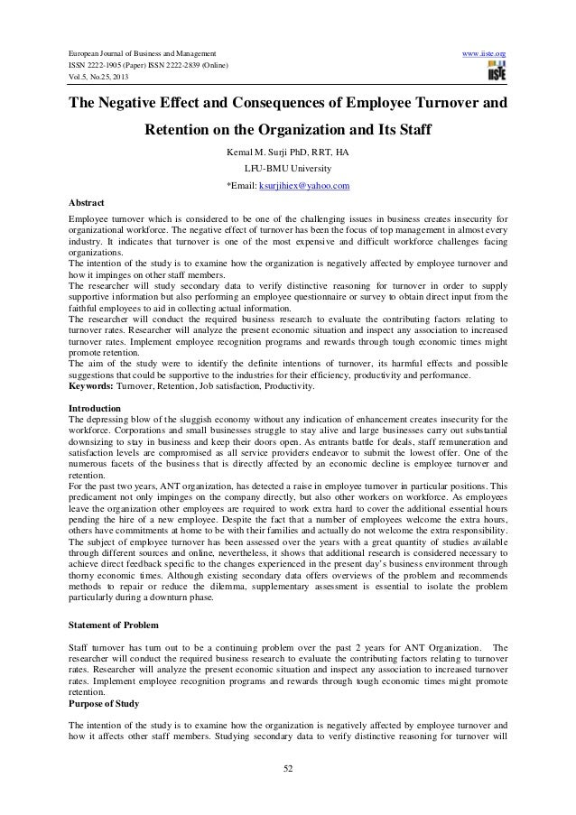 The negative effect and consequences of employee turnover and retention on the organization and its staff