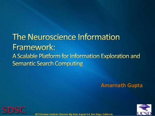 2013 Summer Institute: Discover Big Data, August 5-9, San Diego, California Amarnath Gupta