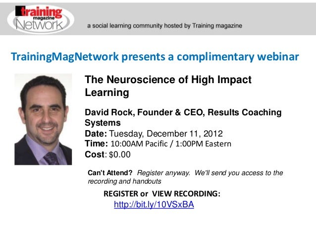 TrainingMagNetwork presents a complimentary webinar             The Neuroscience of High Impact             Learning      ...