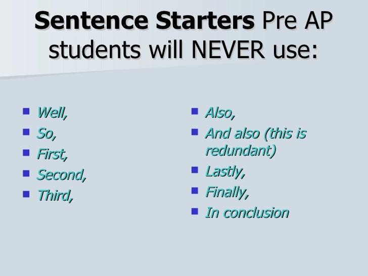 sentence starters for essay