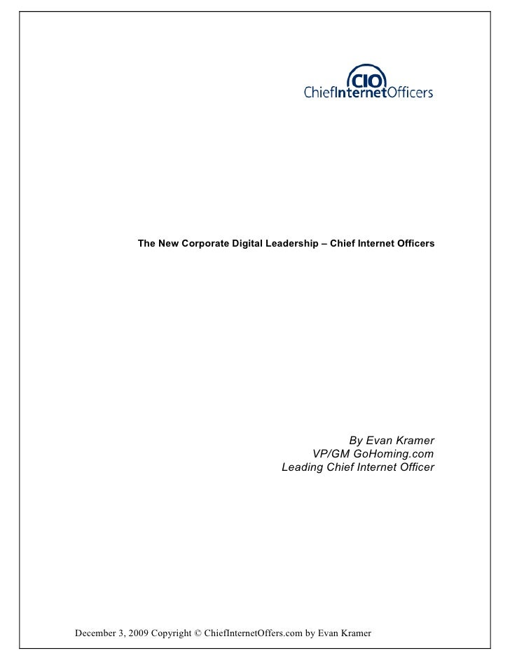 The New Corporate Digital Leadership – Chief Internet Officers                                                            ...