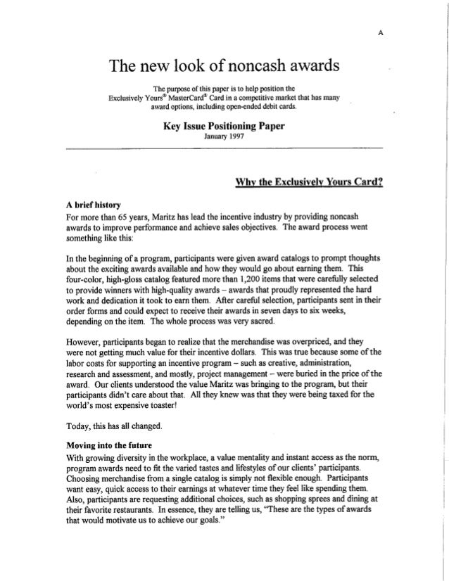 The New Look of Noncash Awards - White Paper 1997