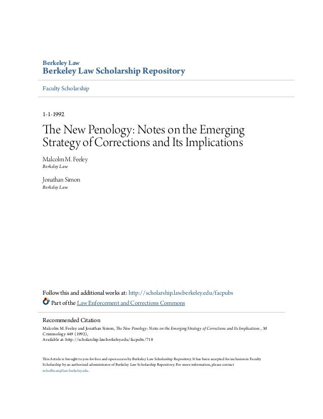 The new penology  notes on the emerging strategy of corrections a