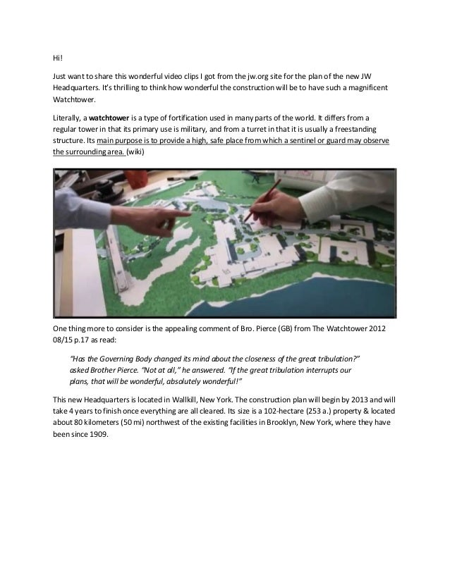 Hi!Just want to share this wonderful video clips I got from the jw.org site for the plan of the new JWHeadquarters. It's t...