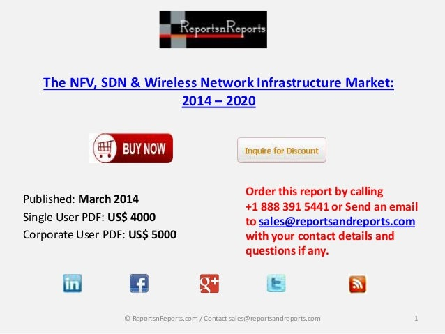 The NFV, SDN & Wireless Network Infrastructure Market: 2014 – 2020 Published: March 2014 Single User PDF: US$ 4000 Corpora...
