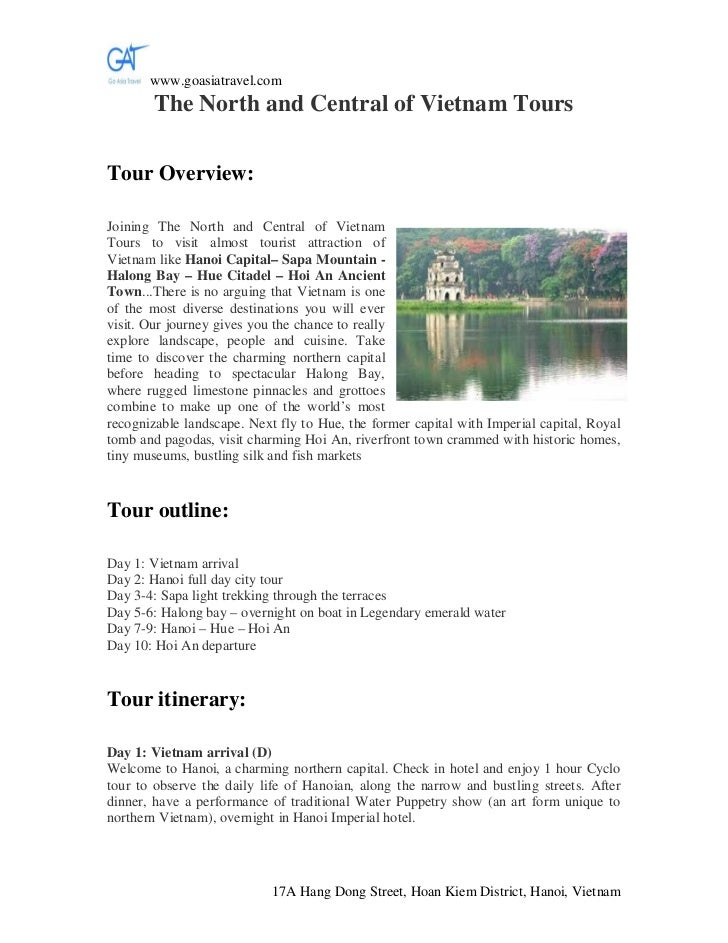 www.goasiatravel.com        The North and Central of Vietnam ToursTour Overview:Joining The North and Central of VietnamTo...