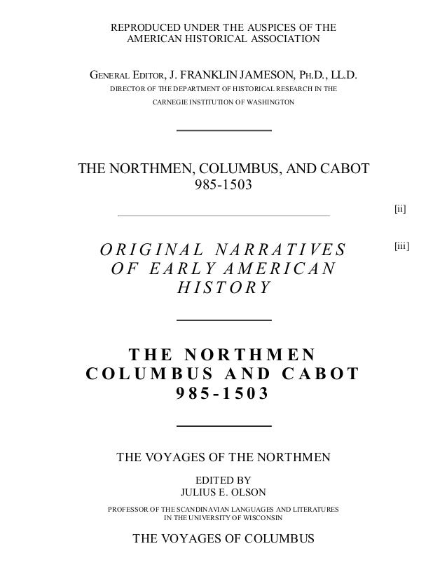 The Northmen, Columbus and Cabot, 985-1503, Free eBook