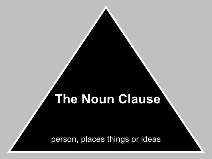 The Noun Clause person, places things or ideas