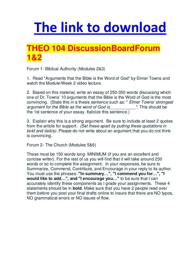 bibl 104 discussion board 1