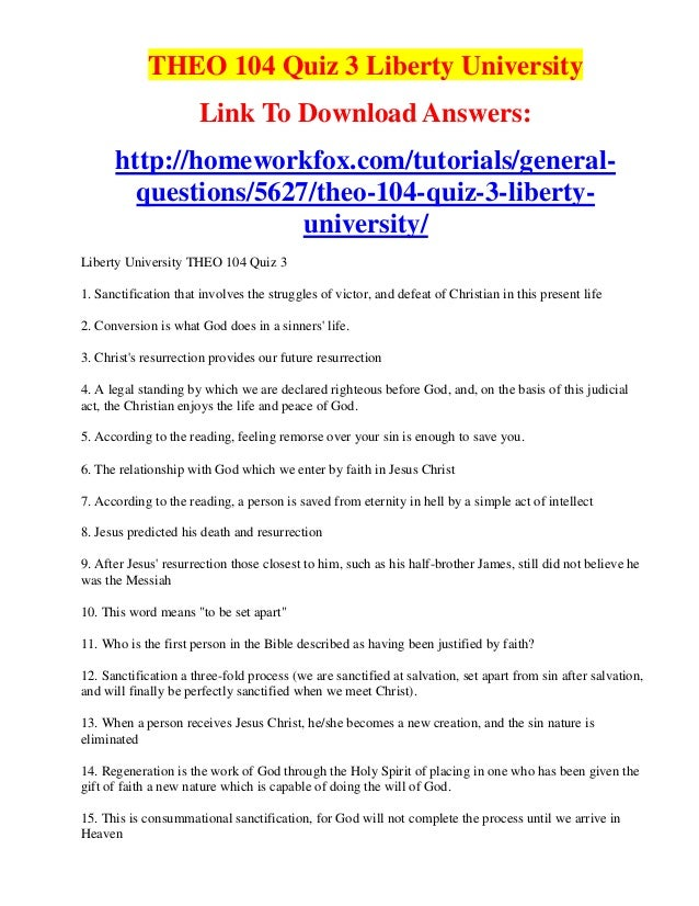 quiz bibl 104 liberty university Read this essay on bible 104 quiz 2 bible 104 quiz 2bibl 104 quiz 2 question 1 3 out of 3 points support@activitymodecom mat 104 week 4 quiz 2 strayer new mat 104 week 4 quiz 2 - strayer university new activity mode aims to provide quality study notes and.