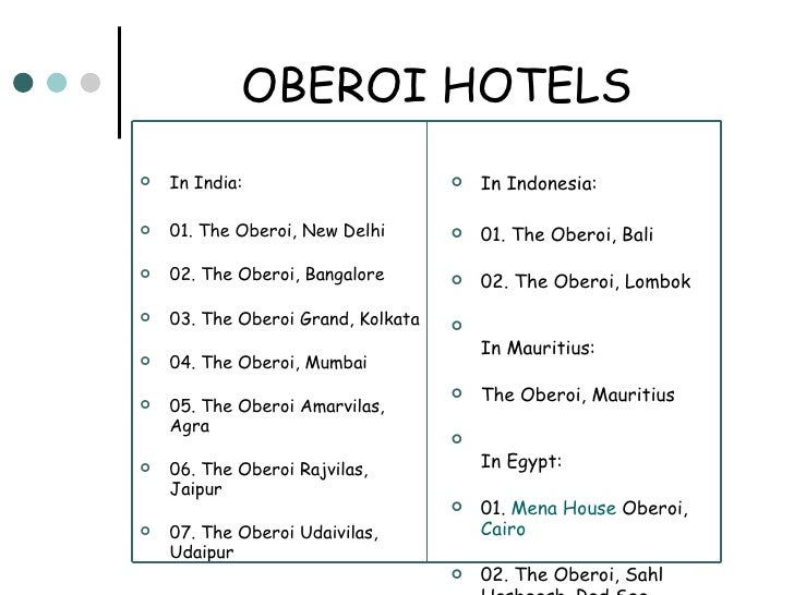 marketing plan oberoi hotels in mumbai The oberoi group is a hotel hriday deb basak office in delhi founded in 1934, the company owns and/or operates 30+ luxury hotels and two river cruise ships in six countries, primarily under its oberoi hotels & resorts and trident hotels brands.