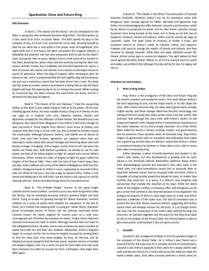 """Sparknotes: Once and Future King<br />Plot Overview<br />In Book I,""""The Sword and the Stone,"""" we are introduced to the W..."""