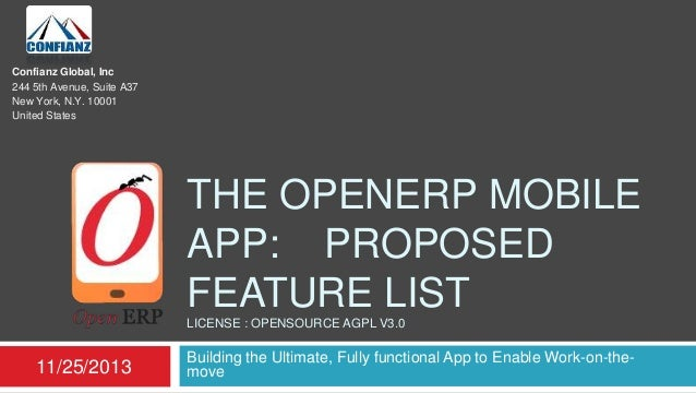 Confianz Global, Inc 244 5th Avenue, Suite A37 New York, N.Y. 10001 United States  THE OPENERP MOBILE APP: PROPOSED FEATUR...