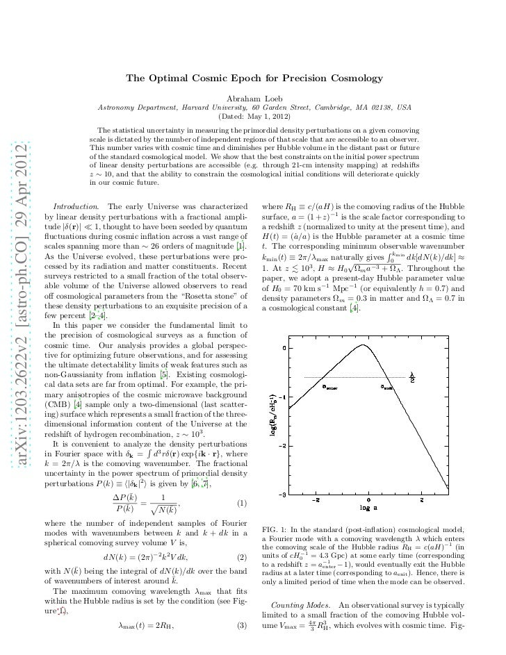 The Optimal Cosmic Epoch for Precision Cosmology                                                                          ...
