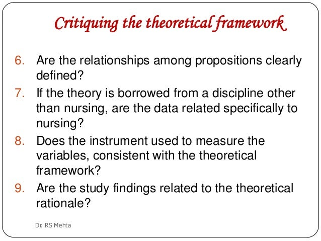developing a framework for critiquing health research nursing essay Validated research involves critiquing and acquiring the skills of synthesis and critical analysis, this enables nurses to distinguish the relationship between theory and practice in nursing (hendry & farley 1998).