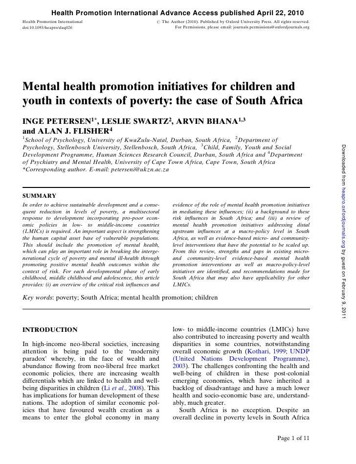 Mental Health Promotion initiatives for Children and Youth in contexts of Poverty: the case of South Africa