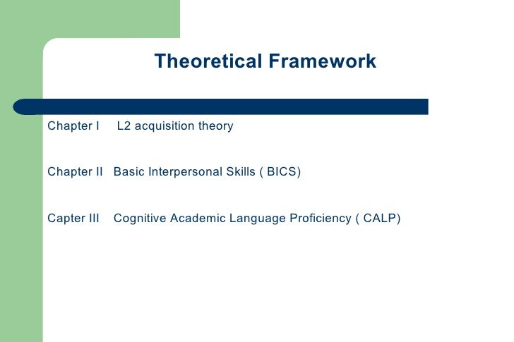 Theoretical Framework   Chapter I    L2 acquisition theory   Chapter II Basic Interpersonal Skills ( BICS)   Capter III   ...