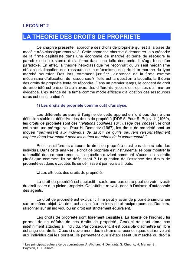 LECON N° 2  LA THEORIE DES DROITS DE PROPRIETE Ce chapitre présente l'approche des droits de propriété qui est à la base d...