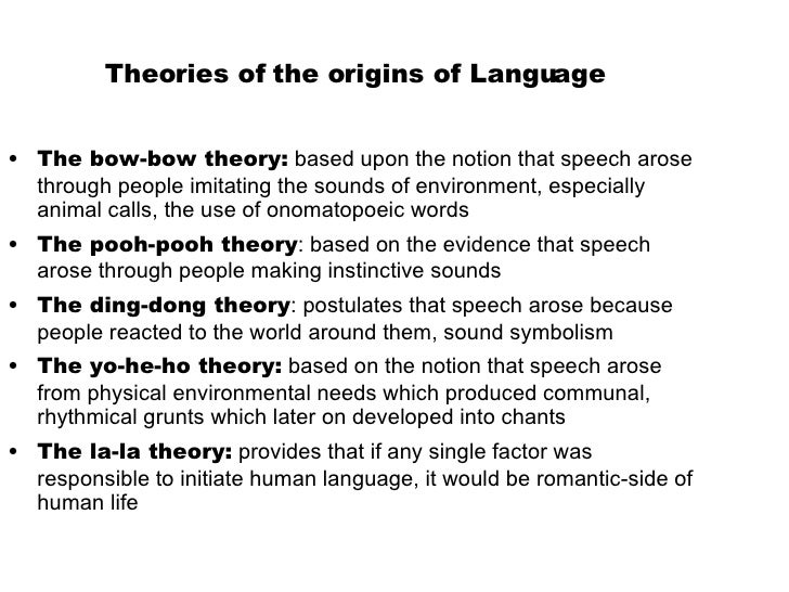 thories about origin og language Theories of art theories of the nature, functions, and effects of art mimetic theories: art as imitation or representation of nature mimes a basic theoretical principle in.